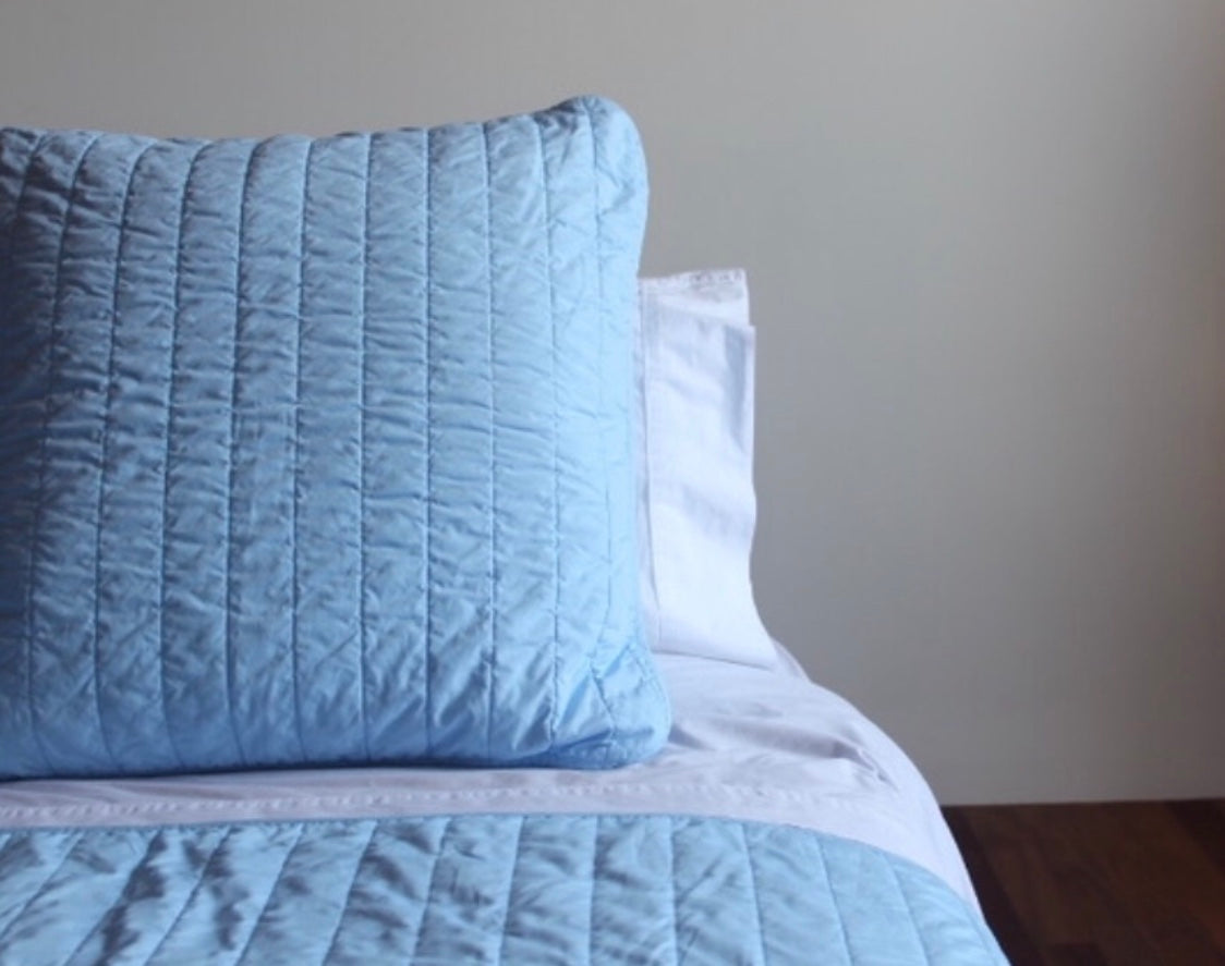 Blue Quilted Bedspread + Euro Pillowcase Set