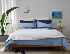 SLEEP IN SUNDAY - Bedlinen Bundle Buy - Feyrehome Australia. 100% extra-long staple cotton percale. 300TC. Includes Indigo Sheet Set, Blue Duvet Set and White Bedspread and Euro pillowcases. Single- King Size. Free Shipping Australia. Afterpay and ZipPay