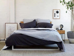 TIME TO UNWIND - Bedlinen Bundle Buy - Feyrehome Australia. 100% extra-long staple cotton percale. 300TC. Includes White Sheet Set, Charcoal Duvet Cover, Silver Bedspread & Euro Pillowcases. Single-King Size. Free Shipping Australia. Afterpay and ZipPay