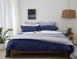 HIGH 5! - Bedlinen bundle Buy - Feyrehome Australia. 100% extra-long staple cotton percale. 300TC. No Pilling. Includes white Sheet Set, Indigo Duvet Cover Set and Silver Bedspread & Euro Pillowcases.  Single to King Size. Free Shipping Australia, Afterpay and ZipPay