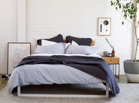 GET INTO BED - Bedlinen Bundle Buy - Feyrehome Australia. 100% extra-long staple Cotton percale. No Pilling. 300TC. Include White sheet set, Silver Duvet Cover Set, Charcoal Bedspread & Euro pillowcases.  Free Shipping Australia. Afterpay and ZipPay.