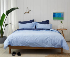 FLY WITH THE BIRDS - Bedlinen Bundle Buy - Feyrehome Australia. Includes Indigo Sheet Set and Blue Duvet Cover Set.  100% extra-long staple cotton percale. No pilling. 300TC.  Free shipping Australia. Afterpay and ZipPay. Single to King size