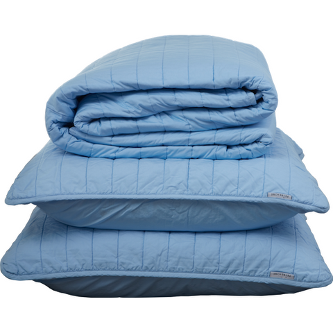 BLUE QUILTED BEDSPREAD + EURO PILLOWCASE SET - Feyrehome Australia