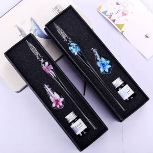 Floral Vintage Glass Fountain Ink Signature Pen