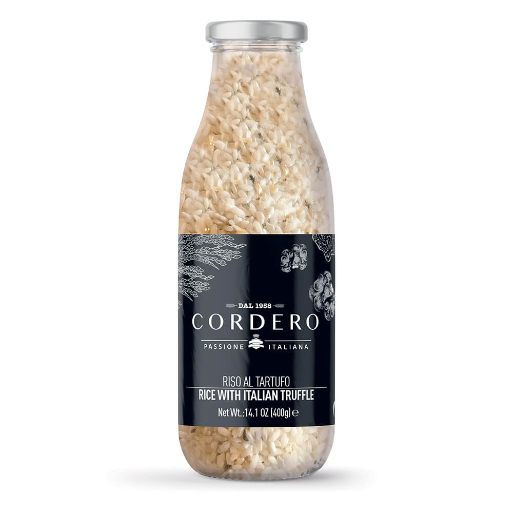 Glass bottle with truffle risotto