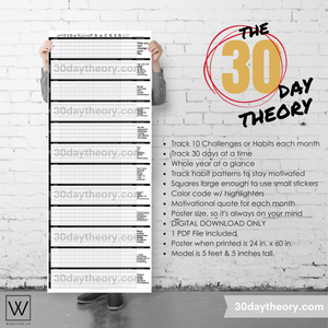 "Yearly Challenge Tracker POSTER | 12 Month Habit Tracker | 365 Day Tracker | 24"" x 60"" Poster - Winegar Company"