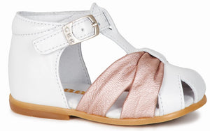 GBB Girls Mariano White and Pink Sandals