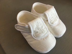 Pex Christening Shoes with Cross Detail White