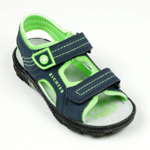 Richter Boys Navy and Neon Green Sandals