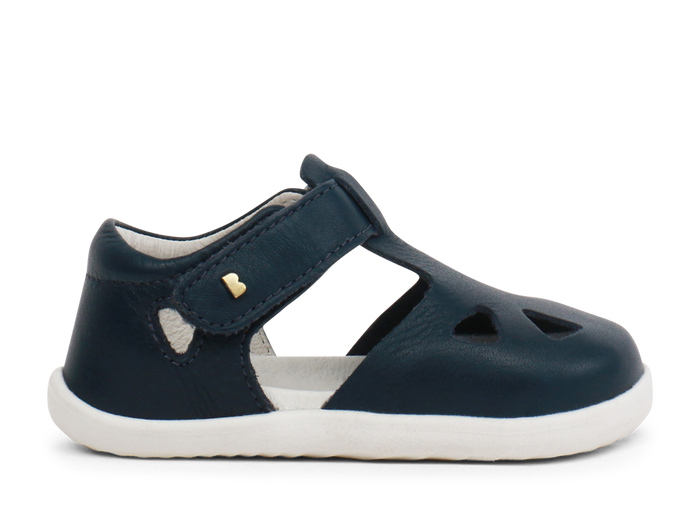 Navy Zap Bobux Sandal with a closed toe.