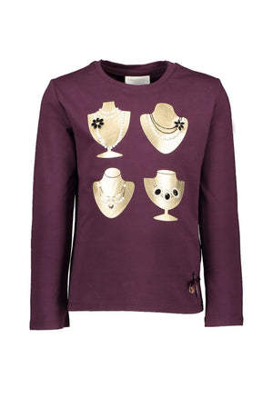 Le Chic Girls Decorative Plum Top