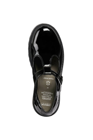 Geox Casey T-Bar Black Patent School Shoes