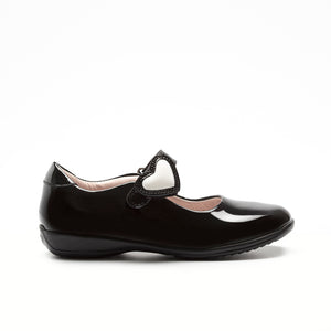 Black Lelly Kelly Colourissima school shoes with a heart. Image 2
