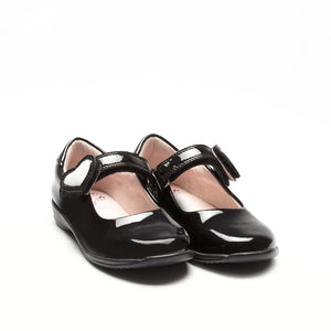 Black Lelly Kelly Colourissima school shoes with a heart.