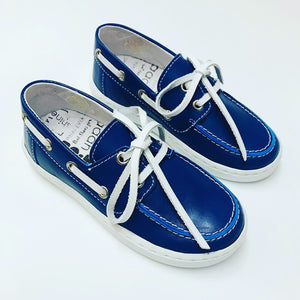 BoBell Boys Blue Leather Deck Shoes