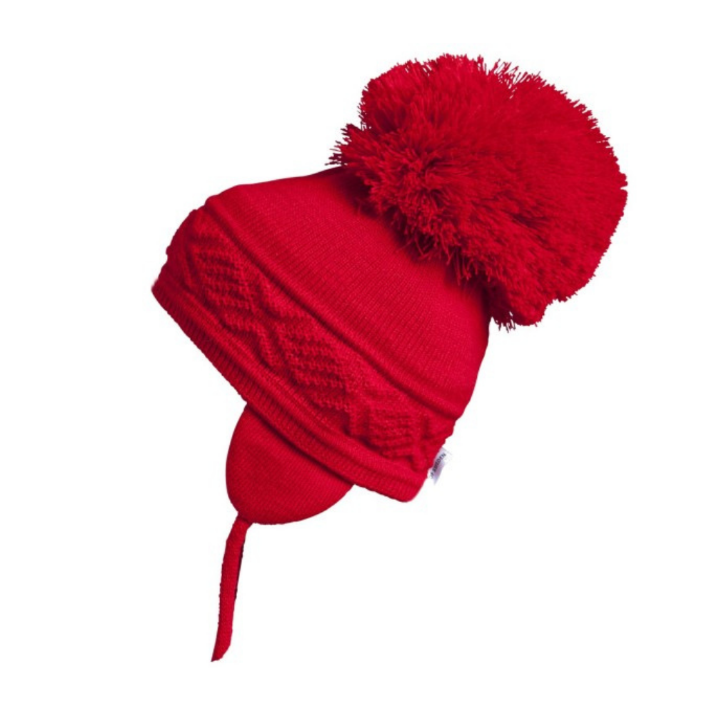satila malva red pompom hat