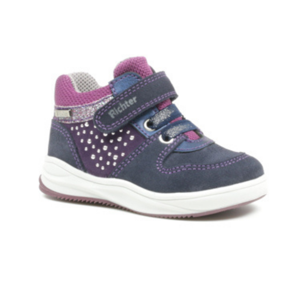richter girls waterproof boots navy and purple
