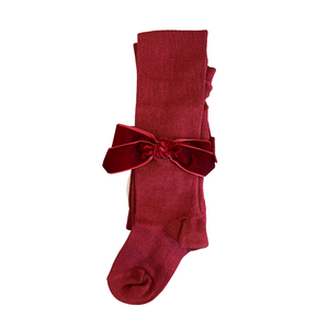 meia pata burgundy velvet bow tights