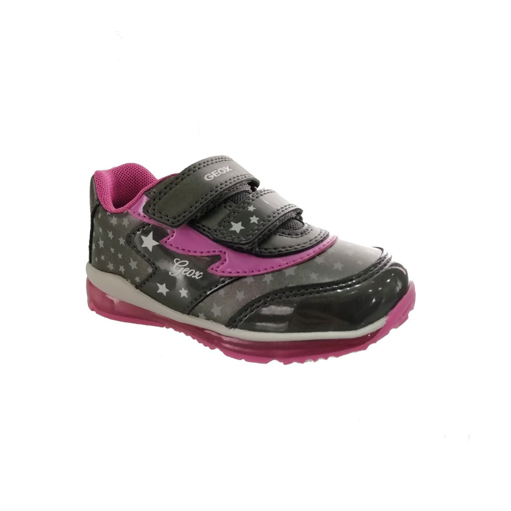 geox girls light up trainers grey and pink