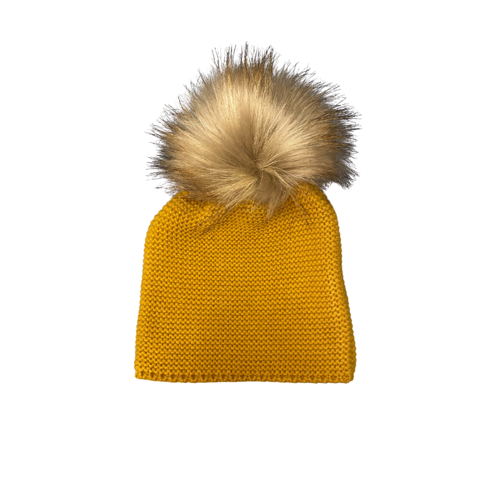 meia pata knitted pom pom hat mustard