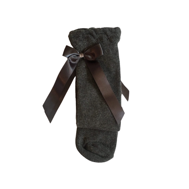 pex charcoal ribbon knee socks