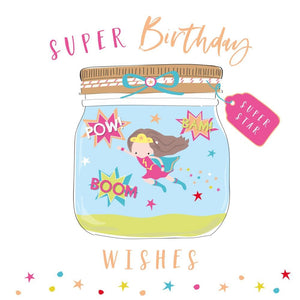 Super Hero Birthday Girl Card