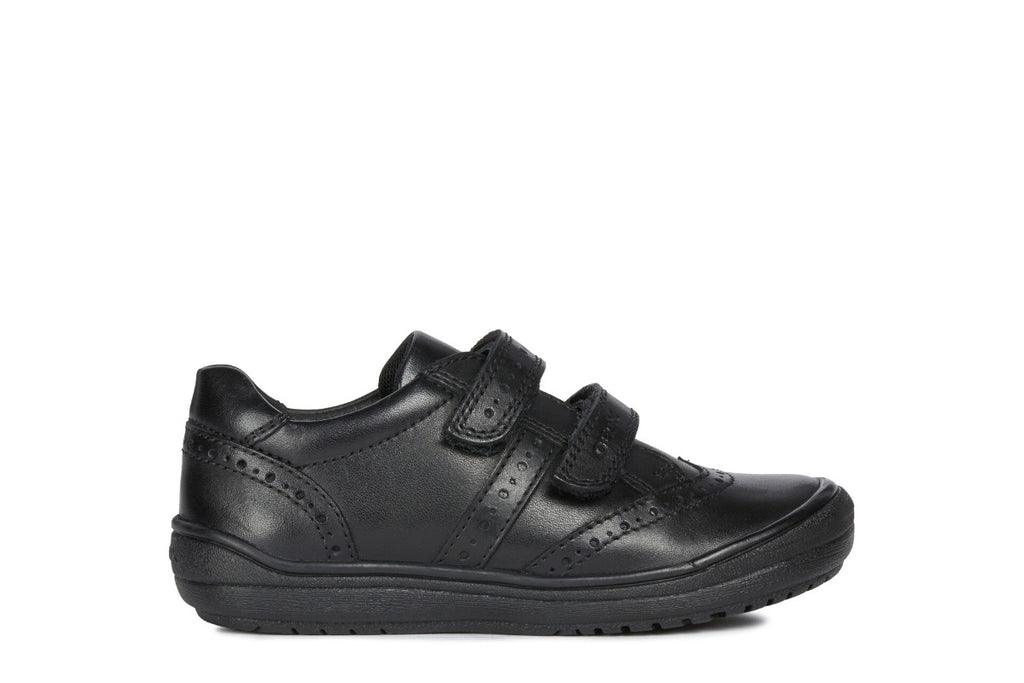 geox j hadriel black leather school shoes