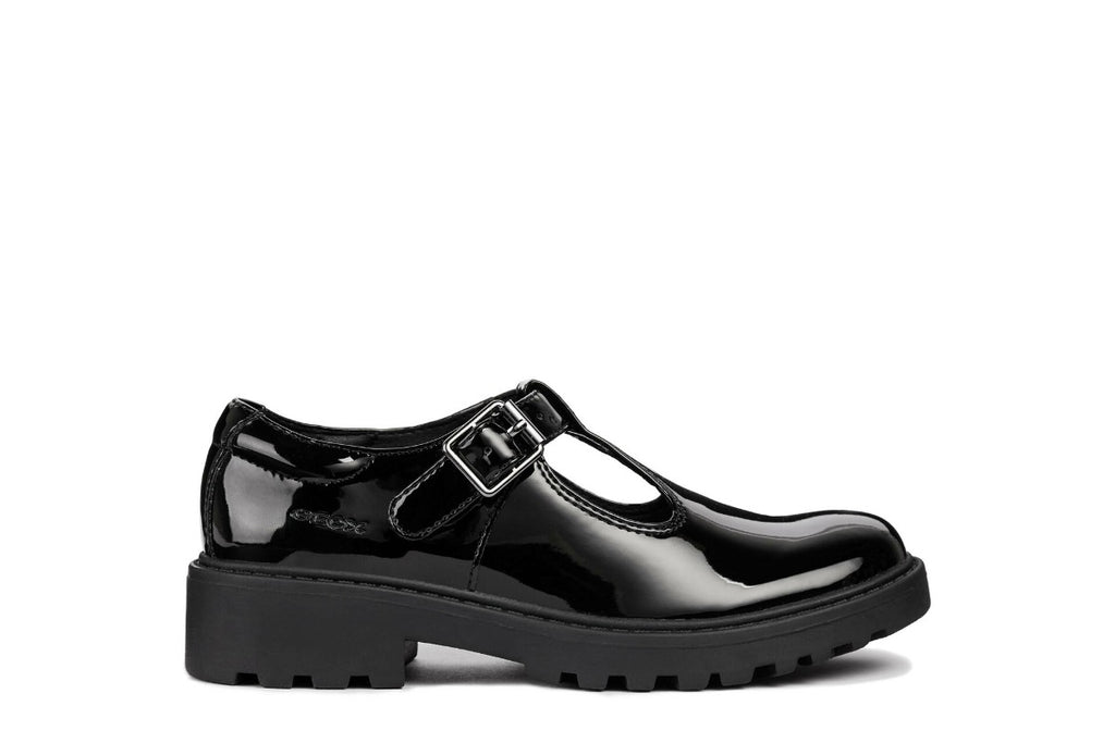 geox casey t-bar black patent girls school shoes