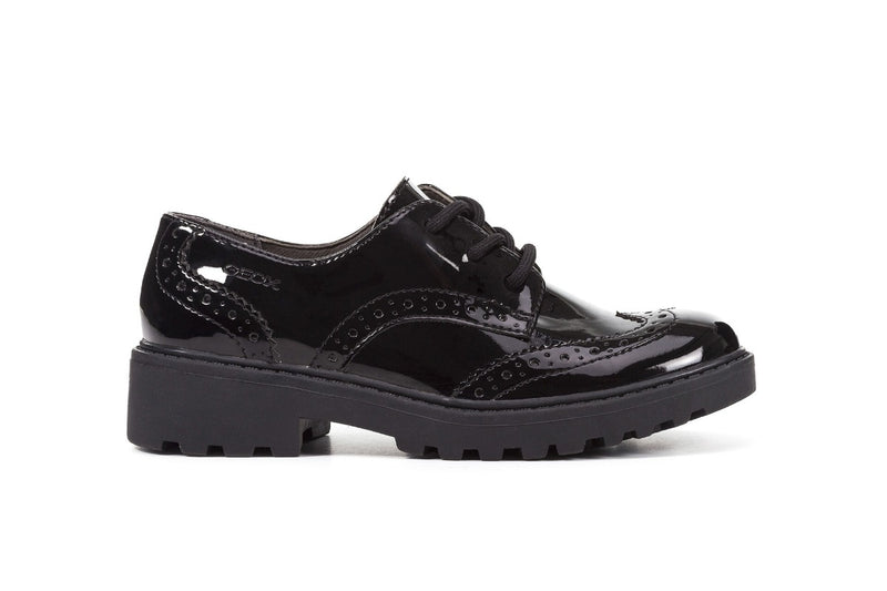GEOX CASEY GIRLS BLACK PATENT LACE UP SCHOOL SHOES