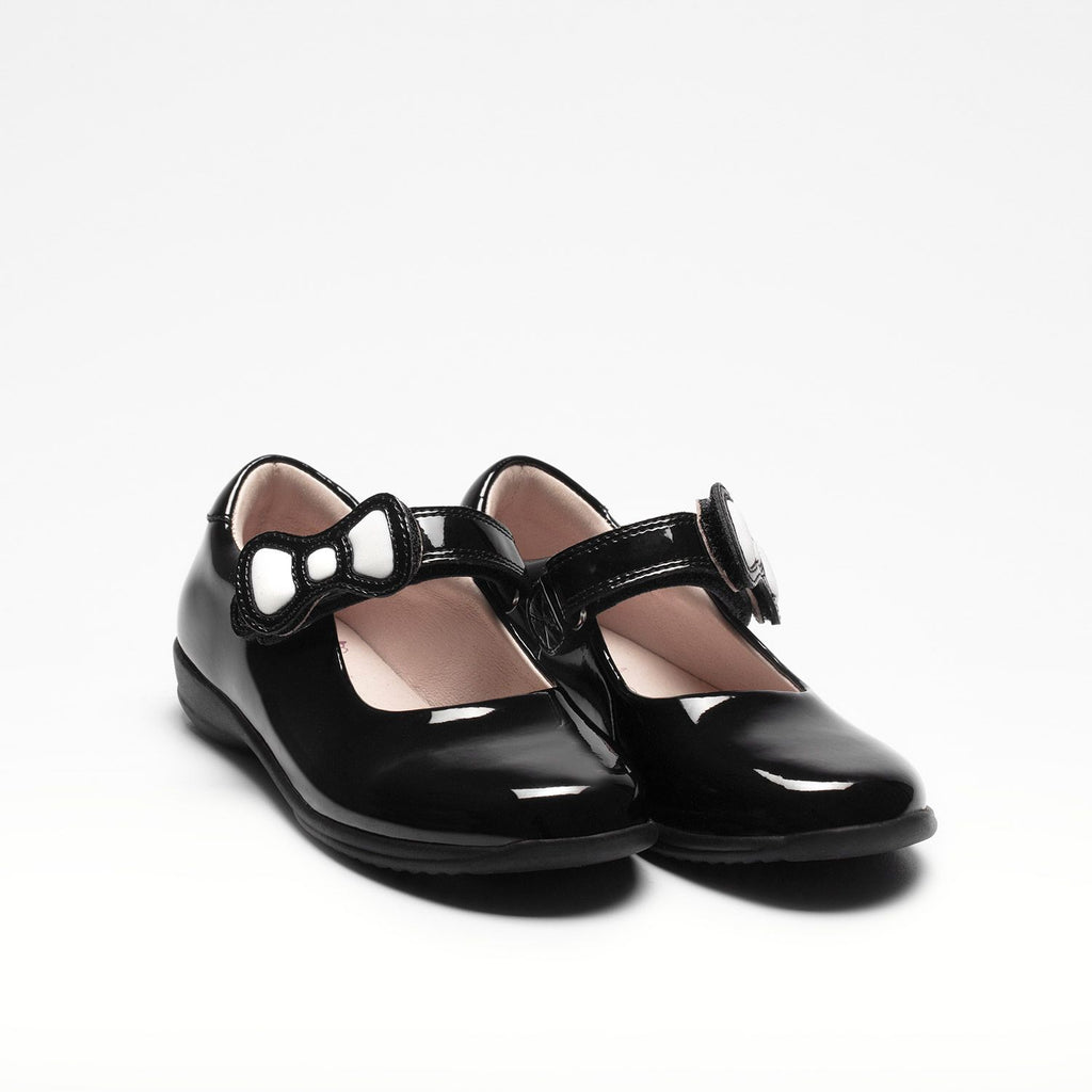 Lelli Kelly colourissima school shoes featuring a bow that can be coloured in.