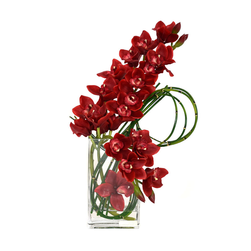 "Red Cymbidium W/ Horsetail Bamboo Rectangular Vase 10.5""H"