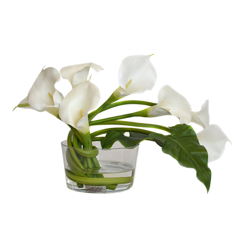 Callas and Leaf in Glass Bowl