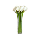 White Calla Lily Glass Plate Vase • 2 Sizes