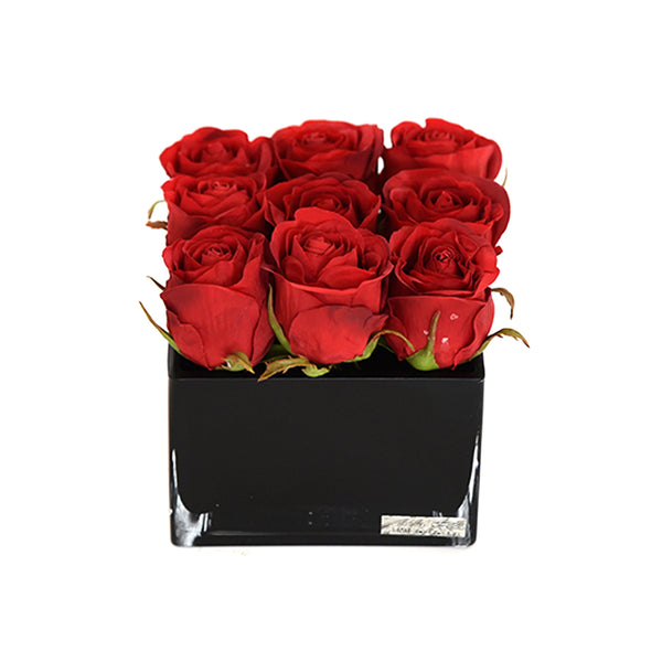 Red Rose Buds in Black Square Vase