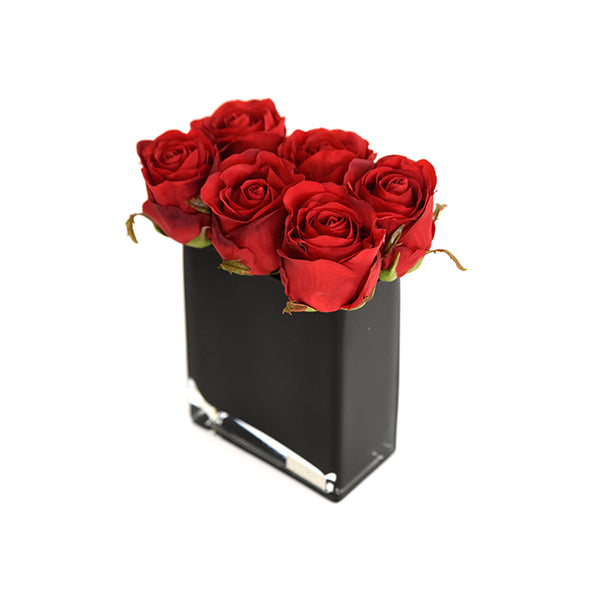 Red Rose Buds in Black Rectangle Vase
