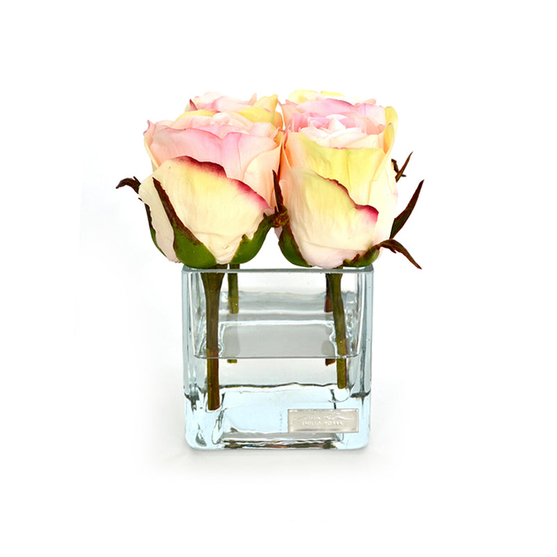 Pink Rose Buds Square Vase