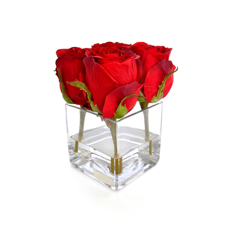 Red Rose Buds Square Vase