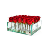 "Red Rose Buds 9"" Square Low Glass Plate Planter"
