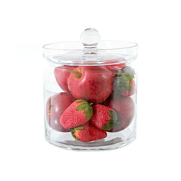 "Apples & Strawberries 8""H Glass Canister"