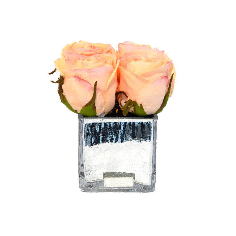 Peach Rose Buds Silver Crackle Square