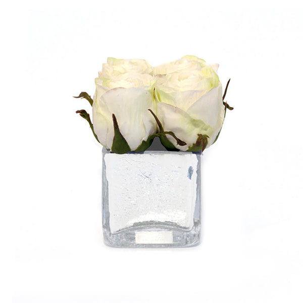 White Rose Buds Silver Crackle Square