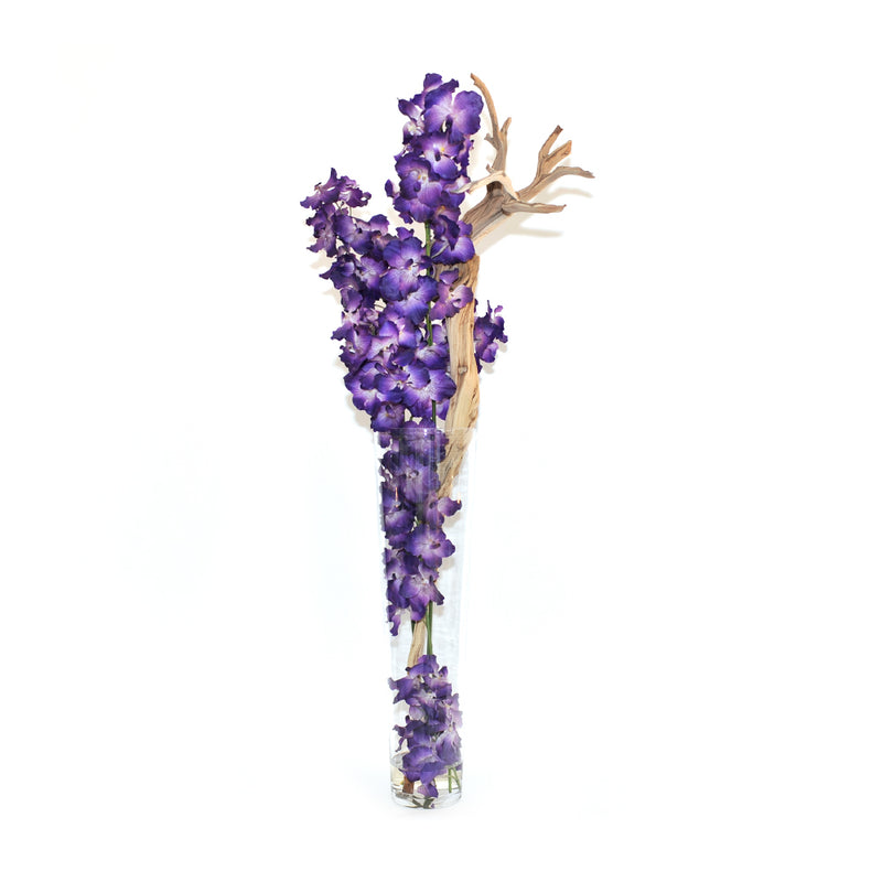 "Purple Vanda & Driftwood 35""H Tapered Vase"