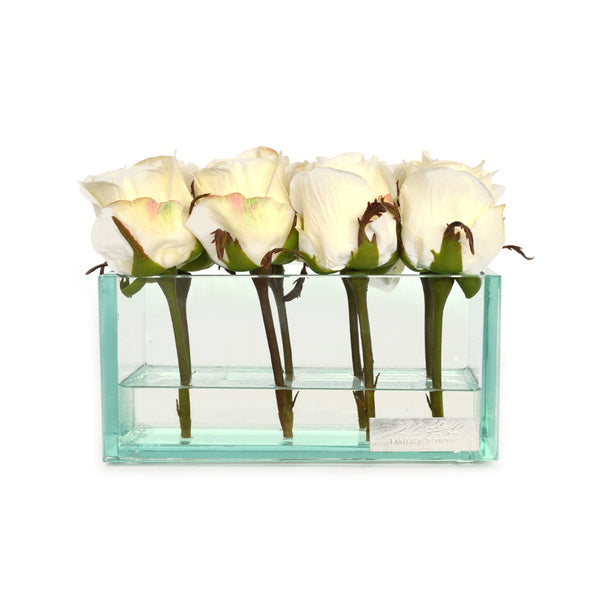 "White Rose Buds in Glass Plate Vase. 4 sizes (8"", 12"", 24"" & 48""L)"