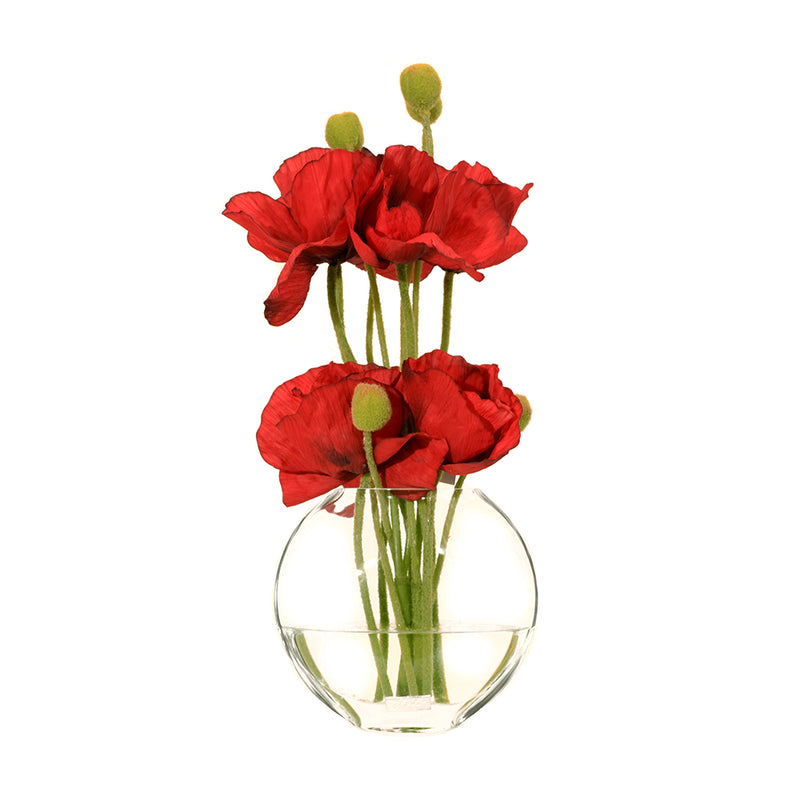 "Red Poppies in 6.5""H Moon Vase"