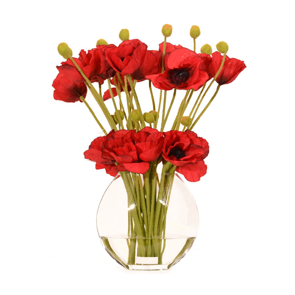 "Red Poppies in 10"" Moon Vase"
