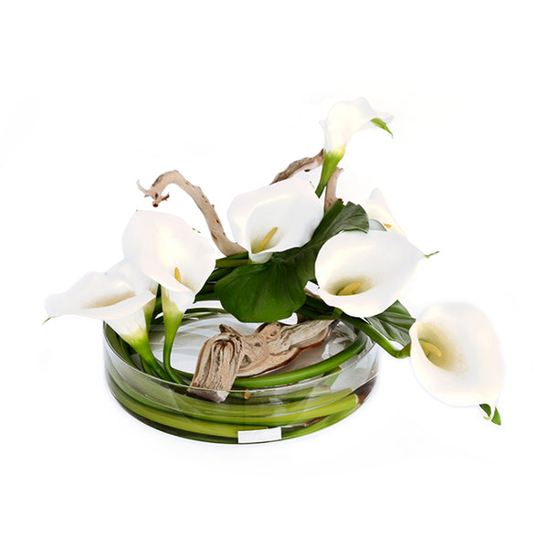 White Calla Lily & Driftwood Heritage Bowl