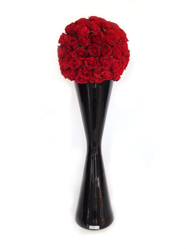"Red Rose Ball 32""H Black Reflection Vase"