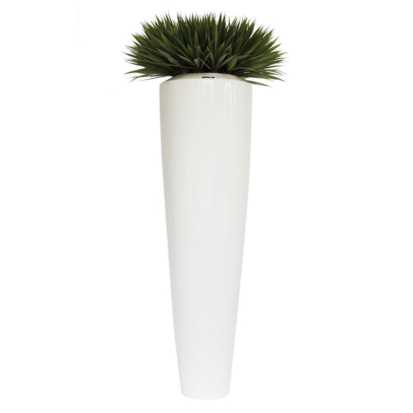 "Yucca Plant 60""H White Resin Container"