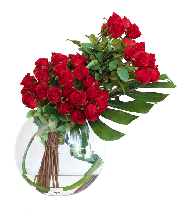 "Red Roses & Monstera Leaf 13""H Moon Vase"