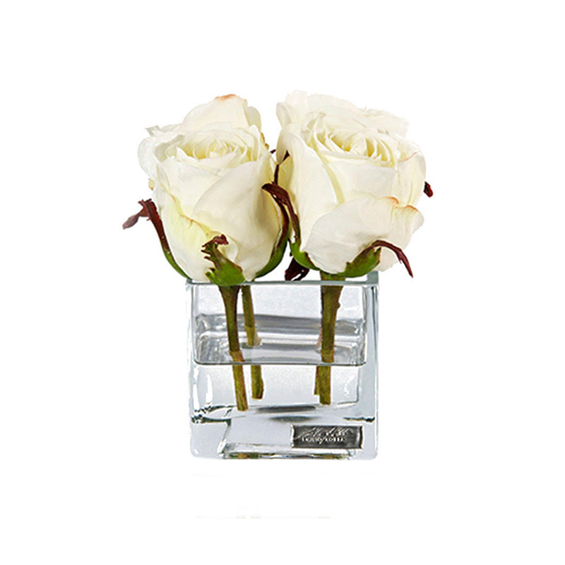 White Rose Buds Square Vase